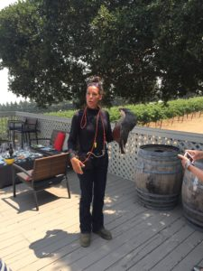 Hahn Winery taking care of the environment with this beautiful hawk.