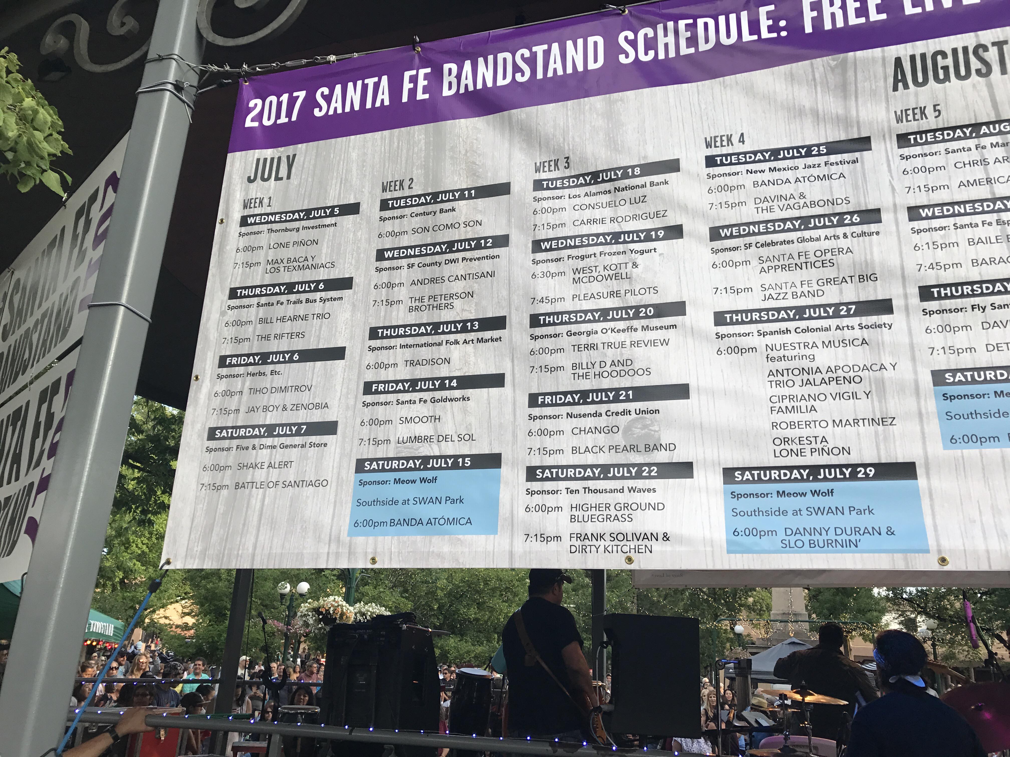 Santa Fe Bandstand line up 2017 #santafebanstand2017